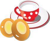 Red cup with white circles with milk and two cheesecakes. — Stock Vector