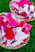 Petals of roses in vases — Stock Photo