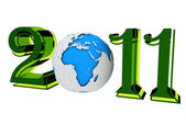 2011 with earth — Stock Photo