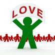 Green character love message — Stock Photo #4329141