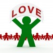 Green character love message — Stock Photo