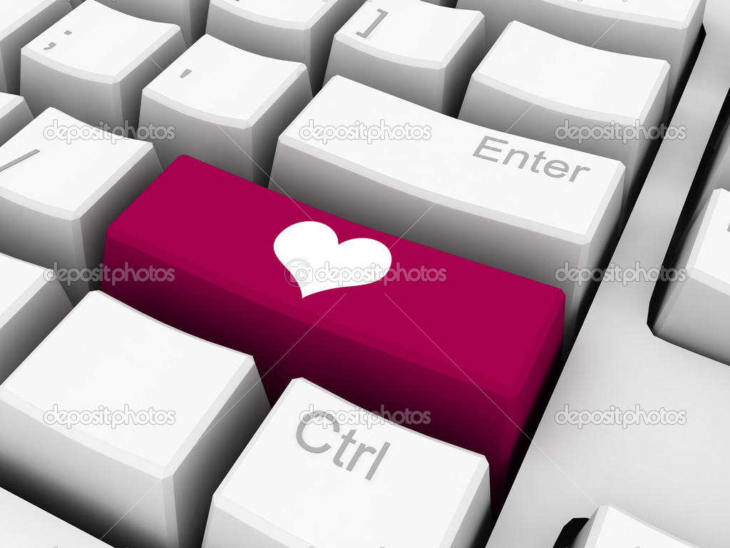 Heart shape on red key of keyboard  Stock Photo #4465778