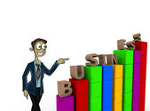 Character pointing business — Stock Photo