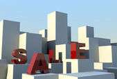 Sale on building blocks — Stock Photo