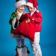 Children in New Year's costumes holding a bag of gifts — Stock Photo #4459944