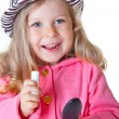 Portrait of smiling fashionable toddler girl — Stock Photo