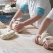 Preparing bread — 图库照片