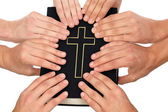 Holding Holy Bible — Stock Photo