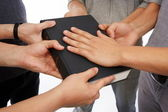 Holding Holy Bible and taking promises — Stock Photo