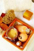 Akcesoria spa pomarańczowy — Zdjęcie stockowe