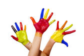 Three painted hands with clipping path — Stock Photo