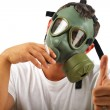 Stock Photo: Gas mask msmoking