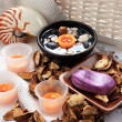 Stock Photo: Orange spa candles and potpourri