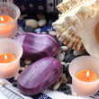 Seashell, soaps and orange candles — Stock Photo