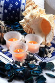 Candles and two shells — Stock Photo