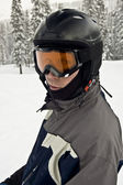 Avid Skier with helmet — Stock Photo