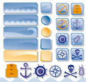 Objects for web, sea — Stock Vector
