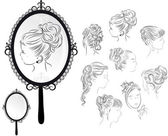 Women's hairstyles, mirror — Stock Vector