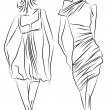 Sketch of fashionable dresses - Image vectorielle