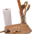 Royalty-Free Stock Photo: Wooden board, paper towels and a few wooden spoons