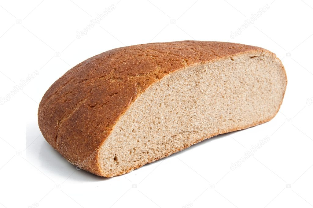 Half of black bread on a white background — Stock Photo #4413822
