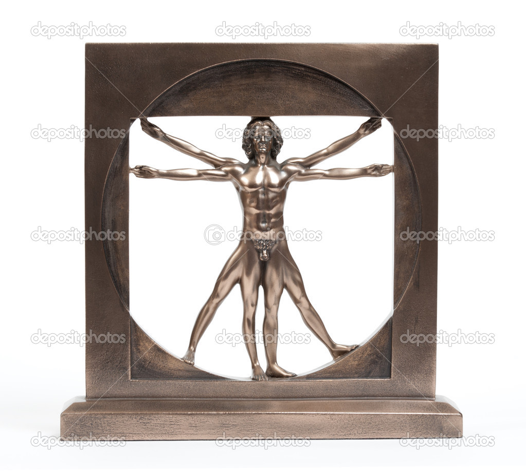 Vitruvian man bronze statuette — Stock Photo #5128642