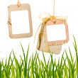 Vector cardboard background hung on a ribbon — Stok fotoğraf