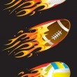 Sport balls in fire 02 — Stock Vector