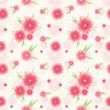 Stock Vector: Seamless pink flower pattern