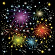 Beautiful colorful fireworks — Stock Vector