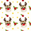 Stock Vector: Funny christmas reindeer