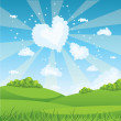 Blue sky and green grass — Vector de stock #4279004