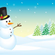 Cute illustration of a snowman — Stock Vector