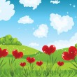 Heart shaped flowers with grass and sky - Stock Vector