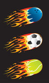 Sport balls in fire 03 — Stock Vector