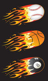 Sport balls in fire 01 — Stock Vector