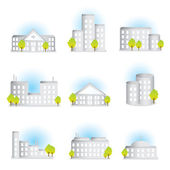 Collection of different buildings — Stock Vector