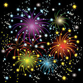 Beautiful colorful fireworks — Vector de stock