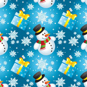 Snowman with gift — Stockvector