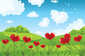 Heart shaped flowers with grass and sky — Stock Vector