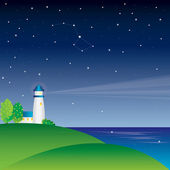 Vector lighthouse on night sky with stars — Stock Vector