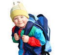 The boy is unbuttoned empty backpack, insulated — Stock Photo