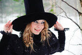High Fashion Woman In Hat — Stock Photo