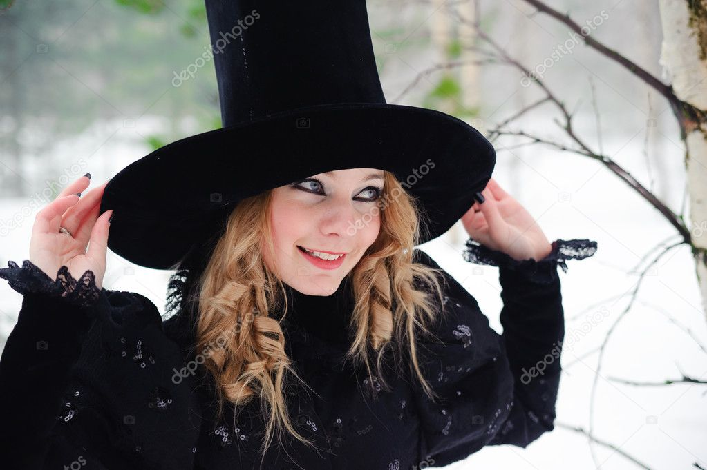 Beautiful young Woman socialite in a big hat  Stock Photo #4285713