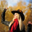 Young blonde in a cowboy hat — Stock Photo