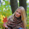 Girl with autumn maple leaves — Stock Photo #4330890