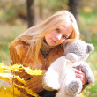 Pretty girl with teddy bear — Stock Photo #4332569
