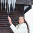 Icicles coming down — Stock Photo