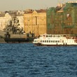 Battleship in Neva river — Stock Photo