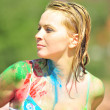The girl soiled by a paint — Stock Photo #4412738